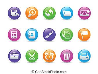 interface, ícones correia fotorreceptora, /, arco íris