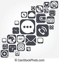 interface, ícones correia fotorreceptora, gráfico, voando