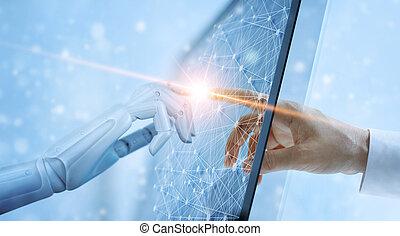 interface., ネットワーク, 知性, concept., 世界的である, ロボット, 事実上, 接続, 感動的である, 人工, 人間の術中, 未来, 技術