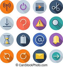 interface, apartamento, desenho, usuário, ícones