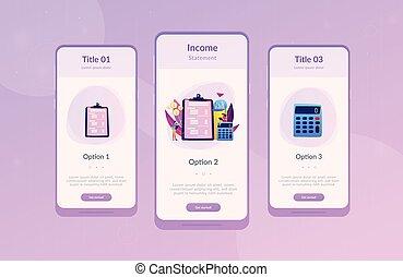 interface, app, template., declaração, renda