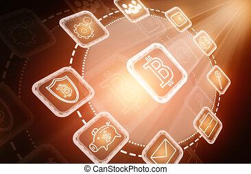interface, bitcoin, fond