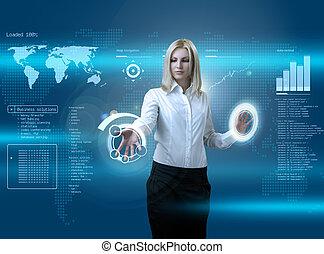 interface, blond, séduisant, futuriste, naviguer