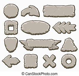 interface, boutons, ensemble, dessin animé, rocher