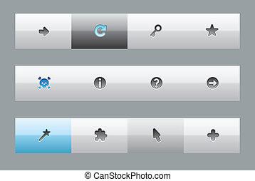 interface, boutons, pour, signes