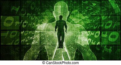 interface, cerveau, informatique