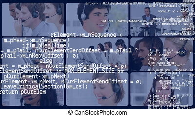 Interface codes and a screens of call centre agents working