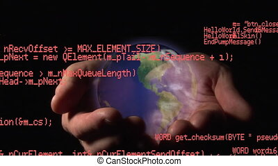 Interface codes and hands holding a globe