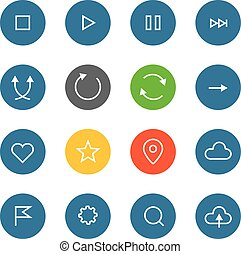 Interface color pictograms collection