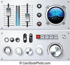 interface, communie, analoog, controles