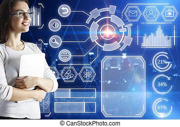 interface, concept, futuriste