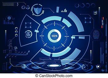 interface, concept, hologramme, technologie, résumé, futuriste