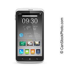 interface, début, écran, intelligent, téléphone