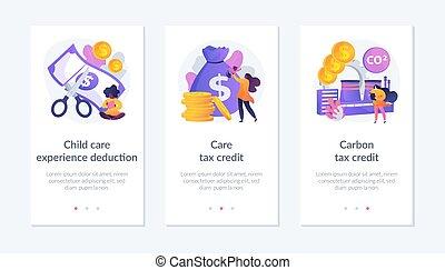interface, déduction, template., impôt, exemption, app, ...