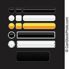Set of black, white and orange aqua buttons