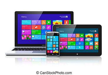 interface, dispositivos, touchscreen, móvel