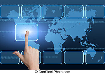 Interface - hand pressing a touchscreen button on blue...