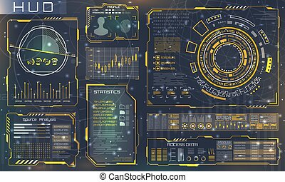interface, elements., style, technologie, infographic, futuriste, hud, gabarit