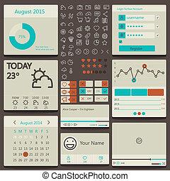 interface, ensemble, éléments, utilisateur, utilisé