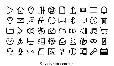 interface, ensemble, icônes, paquet, utilisateur