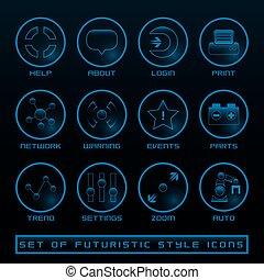 interface, ensemble, utilisateur, futuriste, icônes