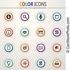 interface, ensemble, utilisateur, icônes