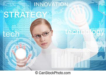 interface, escritório negócio, de, futuro, um, mulher, em, um, azul, modernos, fundo, empurrão, ligado, virtual, botões