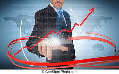 interface, fond, mondiale, graphique, futuriste, flèche, homme affaires, carte, rouges, toucher