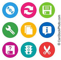 interface, fondamental, couleur, icônes