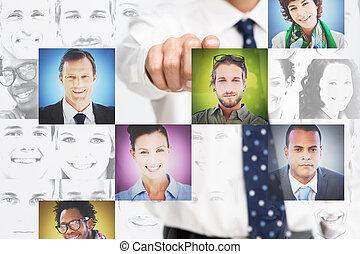 interface, fundo, digital, apresentando, quadros, perfil, homem negócios, branca, apontar