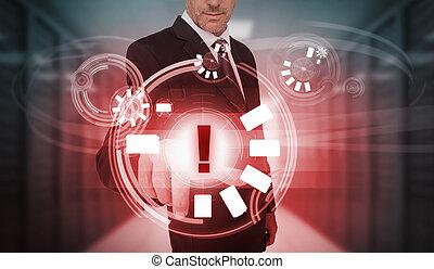 interface, futuriste, avertissement, homme affaires, icône, toucher