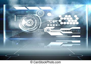 interface, futuriste, technologie