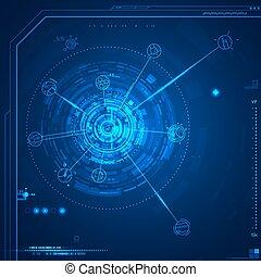 interface, gráfico, usuário, futurista