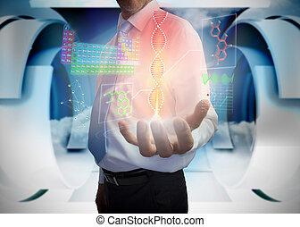 interface, homem negócios, médico, apresentando