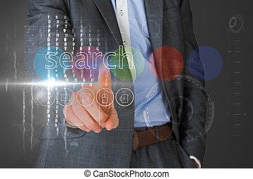 interface, homem negócios, palavra, busca, tocar