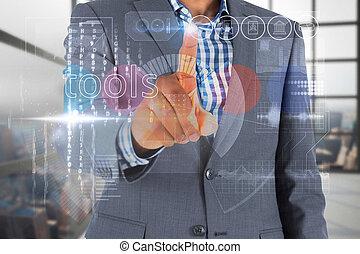 interface, homem negócios, palavra, ferramentas, tocar