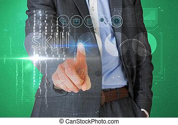 interface, homem negócios, palavra, tocar, habilidade