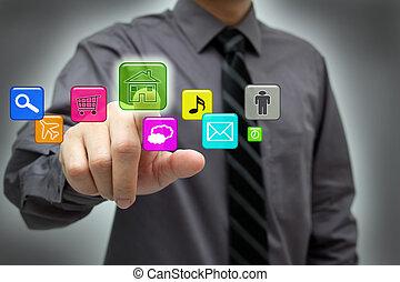 interface, homem negócios, touchscreen, hightech, usando