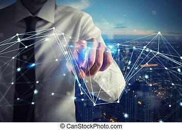 interface, homem negócios, trabalhos, futurista, internet