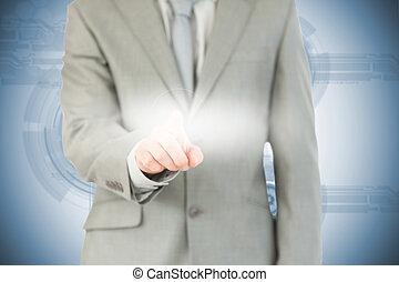 interface, homme affaires, futuriste, utilisation