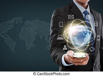 interface, homme affaires, naviguer, réalité virtuelle