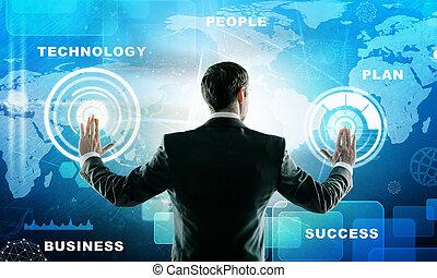 interface, homme affaires, presses, futuriste