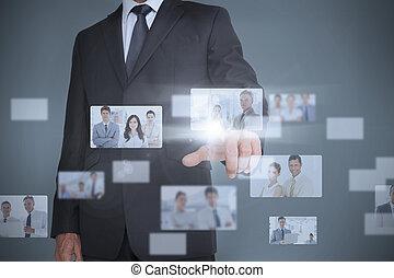 interface, homme affaires, projection, futuriste