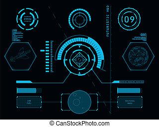 interface, hud, usuário, futurista