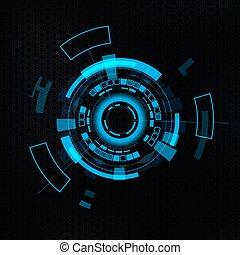 interface, hud., utilisateur, futuriste