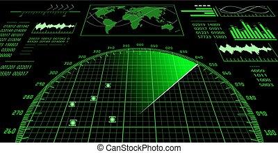 interface, hud., utilisateur, radar, écran, futuriste