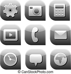 interface icon set gray