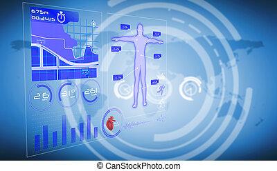 interface, imagem composta, médico
