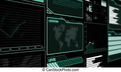 interface, information, futuriste, données, tableau bord, diagramme, utilisateur, grand, analytic