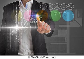 interface, investir, homem negócios, palavra, tocar